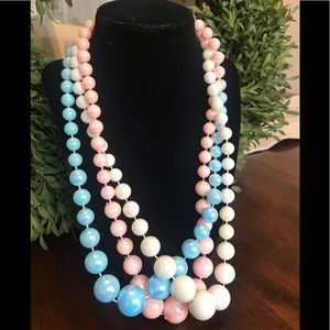 3 vintage iridescent beaded necklaces